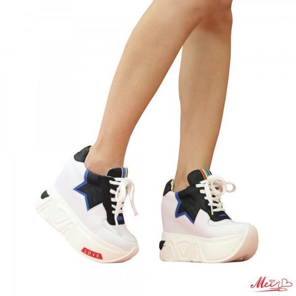 Pantofi Sport Dama cu Platforma SJN60 White Mei