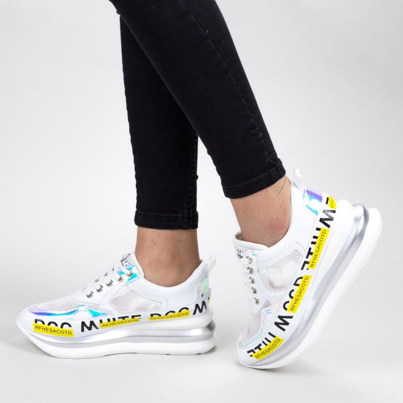 Pantofi Sport Dama cu Platforma SZ256 White Mei