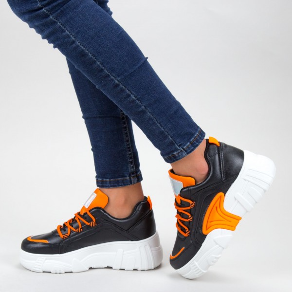 Pantofi Sport Dama cu Platforma YKQ202 01 BLACK-ORANGE MEI