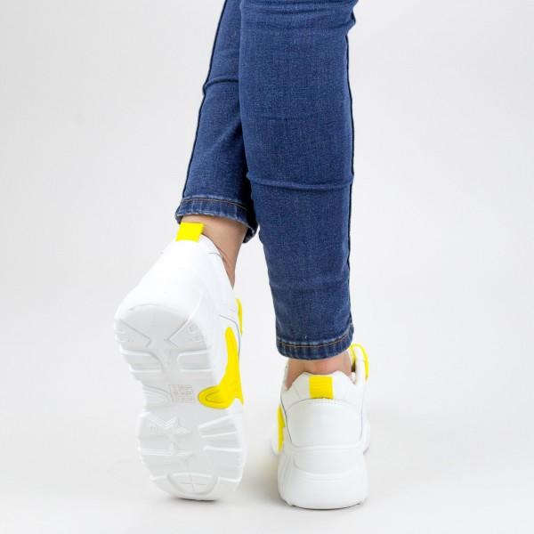 Pantofi Sport Dama cu Platforma YKQ202 02 WHITE-YELLOW MEI