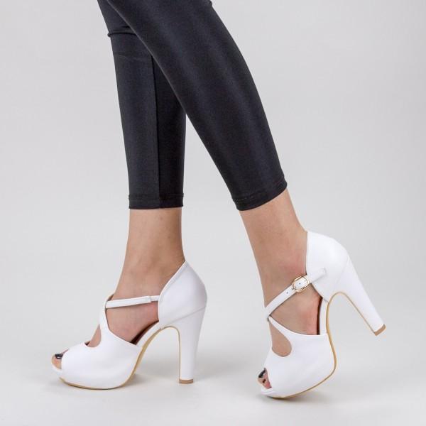 Sandale Dama cu Toc subtire si Platforma XD206 White Mei