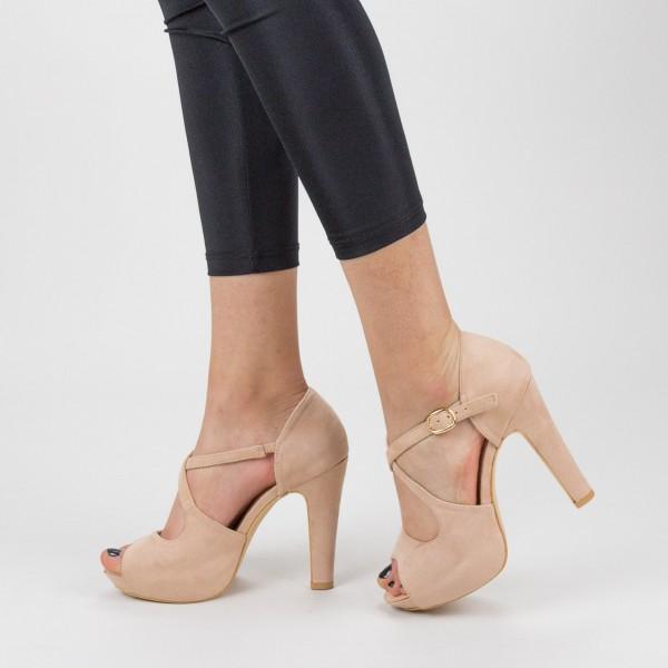 Sandale Dama cu Toc gros si Platforma XD206 Pink Mei