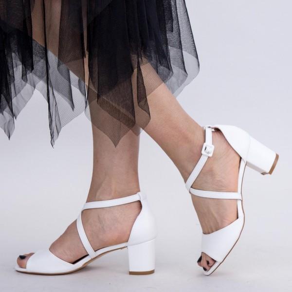 Sandale Dama cu Toc gros XDR277 White Mei