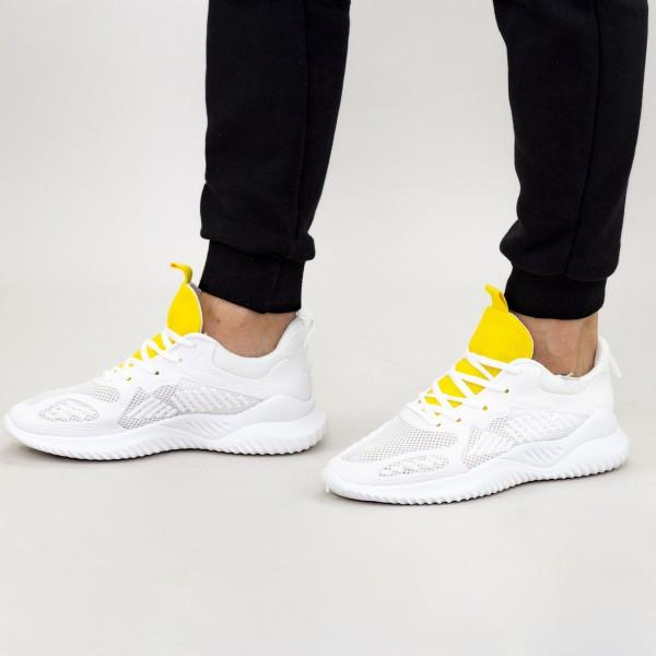 Pantofi Sport Barbati 1687 White-Yellow Fashion
