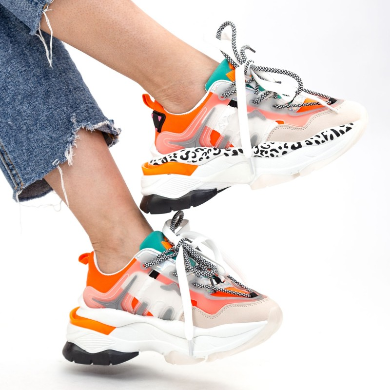 Pantofi Sport Dama cu Platforma YKQ205 Orange Mei