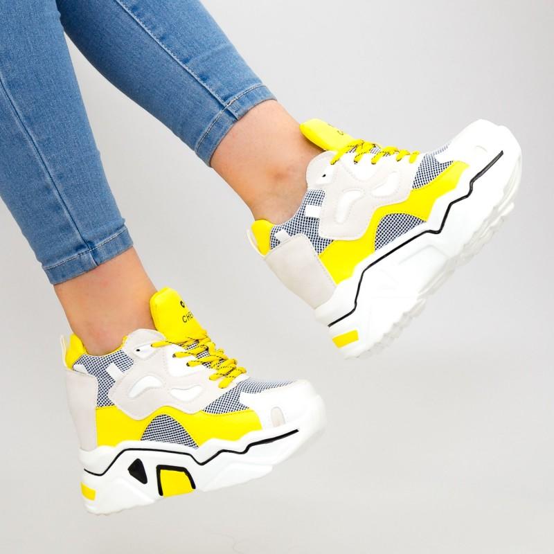 Pantofi Sport Dama cu Platforma 805 PSDP Yellow Mei