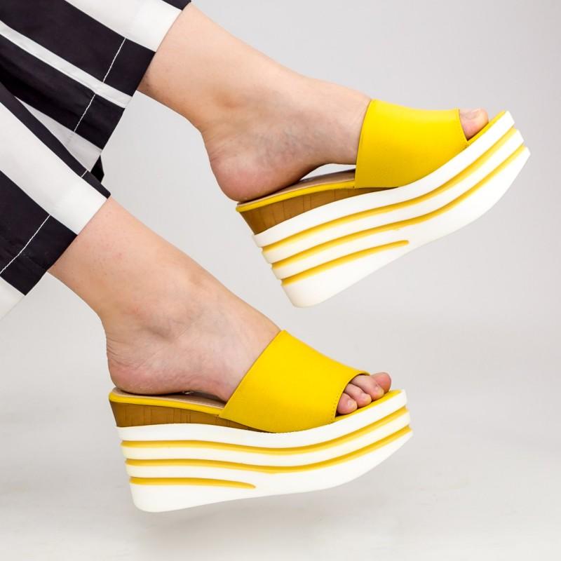 Papuci Dama cu Platforma LM280 Yellow Mei