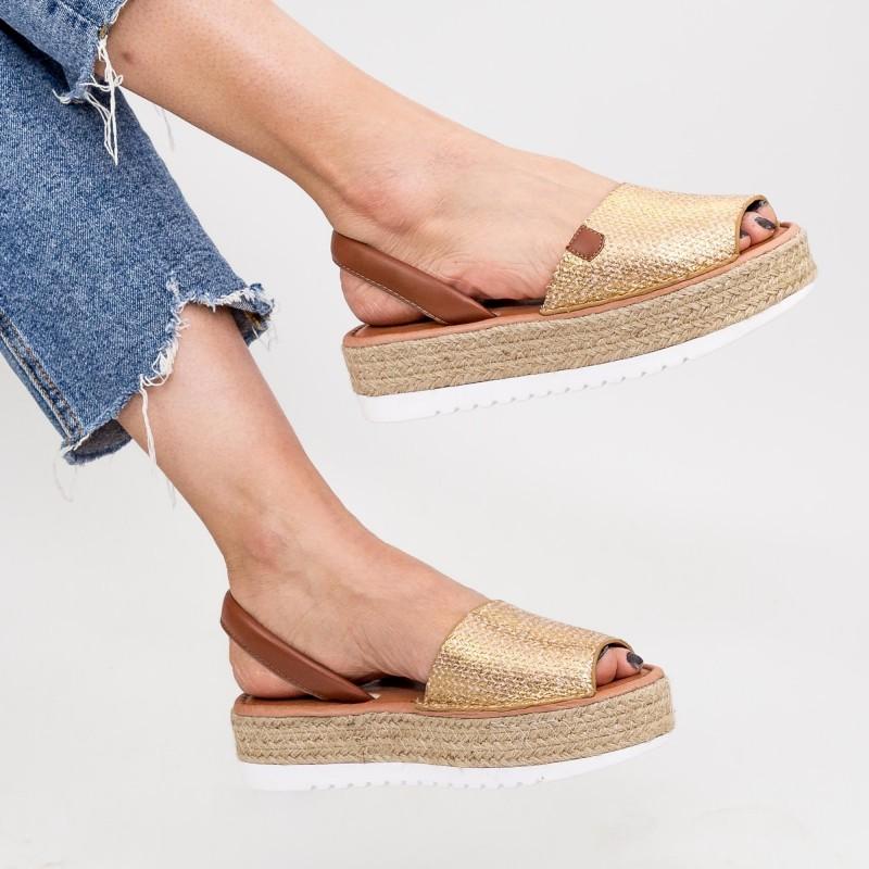 Sandale Dama cu Platforma WH1933 Gold Mei