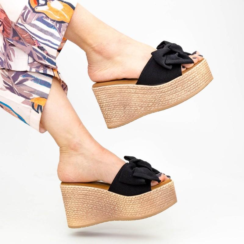 Papuci cu Platforma Dama WS117 Black Mei