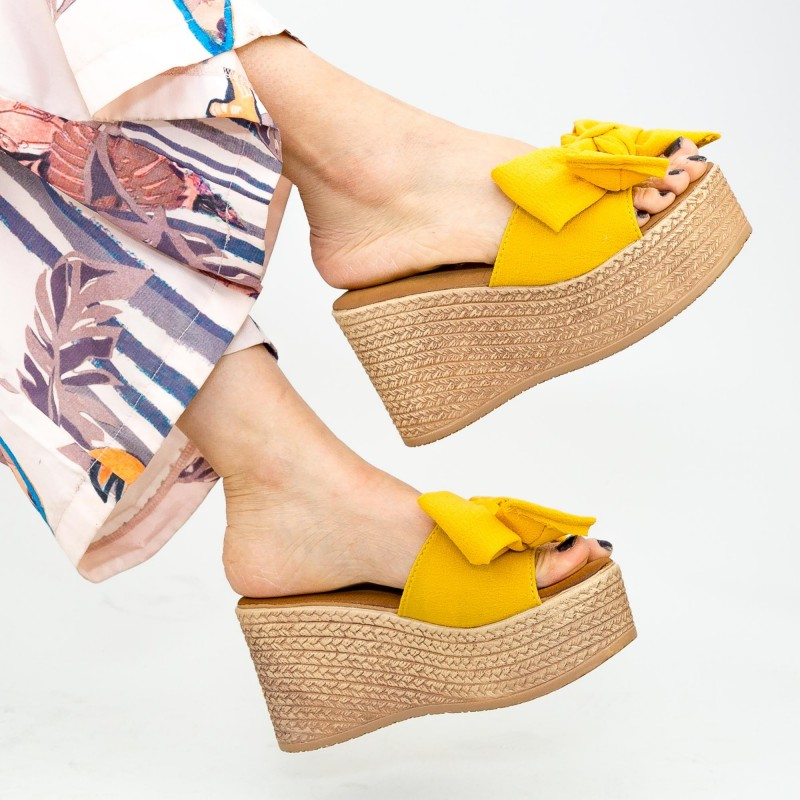 Papuci Dama cu Platforma WS117 Yellow Mei