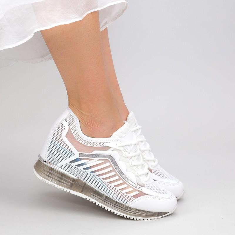 Pantofi Sport Dama cu Platforma SZ257 White Mei