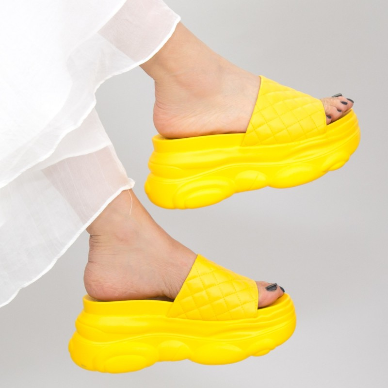 Papuci Dama cu Platforma WLGH15 Yellow Mei