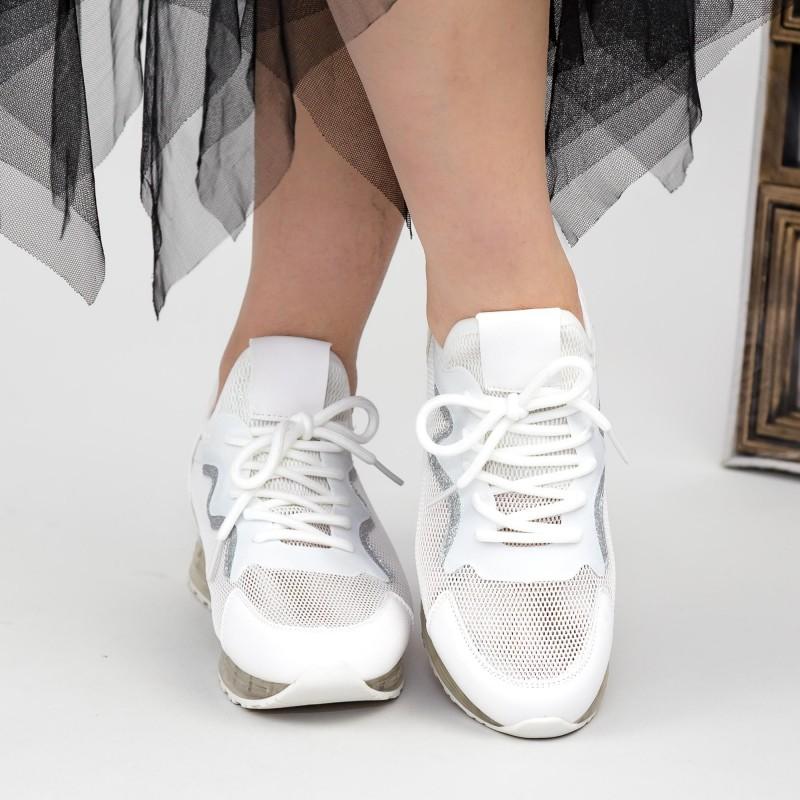 Pantofi Sport Dama cu Platforma SZ258 White Mei