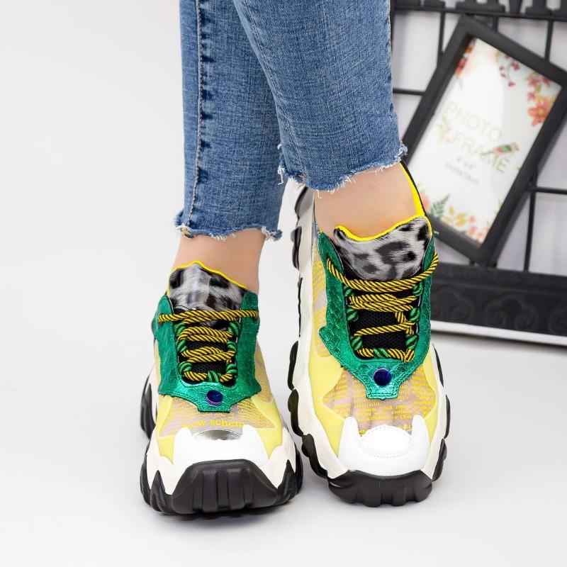 Pantofi Sport Dama cu Platforma SZ236 Yellow Mei