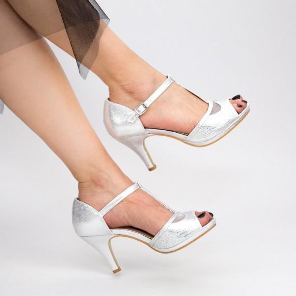 Sandale Dama cu Toc subtire QZL95 Silver Mei