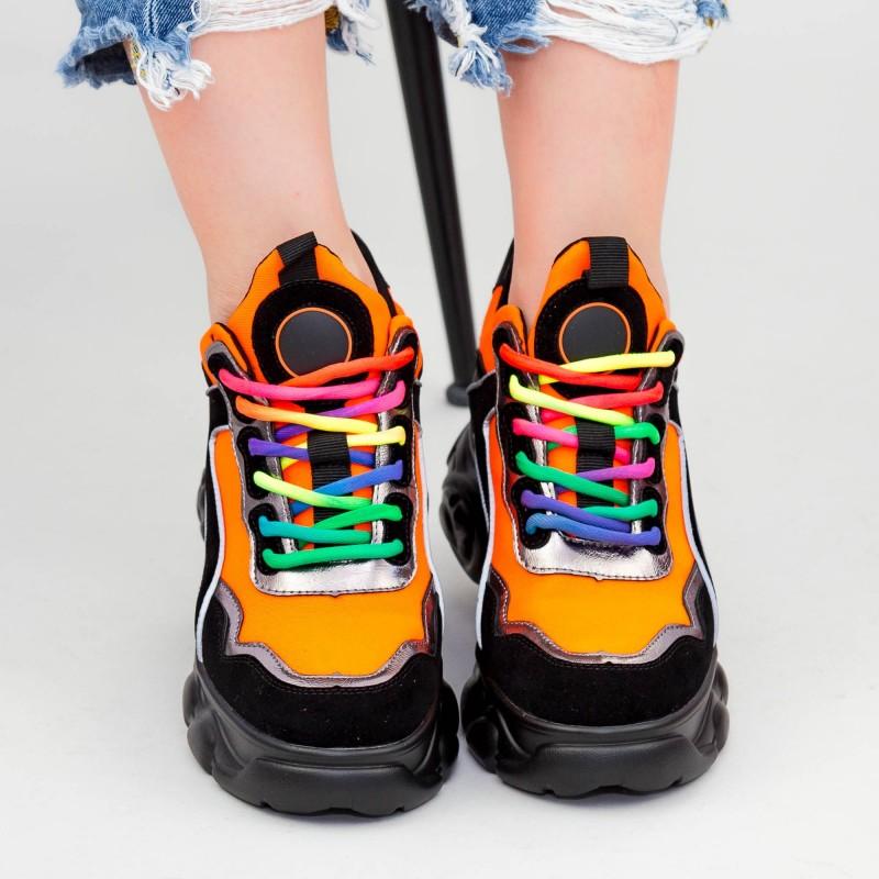 Pantofi Sport Dama cu Platforma SZ238 Black-Orange Mei
