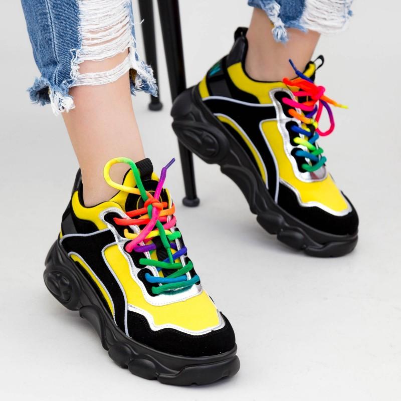 Pantofi Sport Dama cu Platforma SZ238 Black-Yellow Mei