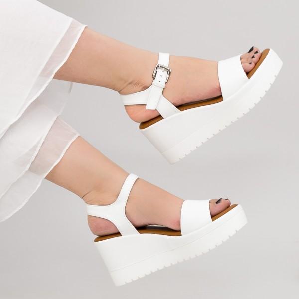 Sandale Dama cu Platforma YL7 White Mei
