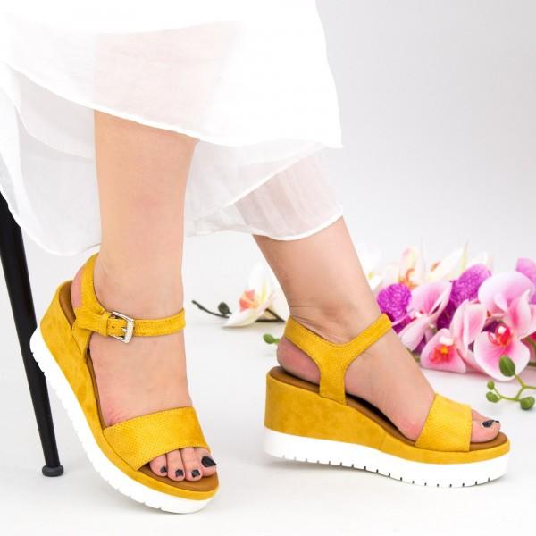 Sandale Dama cu Platforma YL7 Yellow Mei