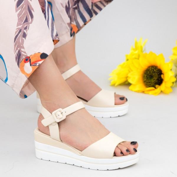 Sandale Dama cu Platforma WT9 Beige Mei