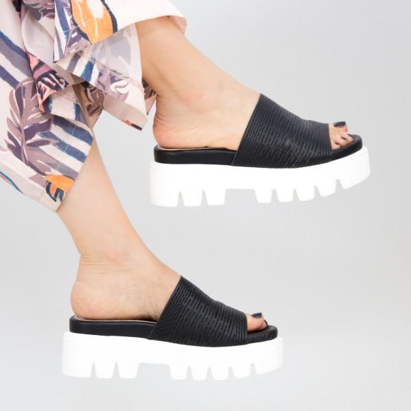 Papuci Dama cu Platforma WT11 Black Mei