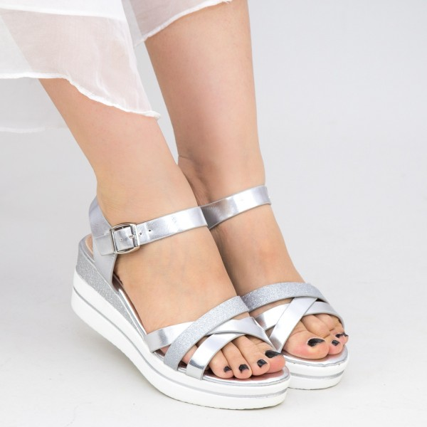 Sandale Dama cu Platforma WT8 SD Silver Mei