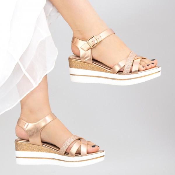 Sandale Dama cu Platforma WT8 SD Champagne Mei