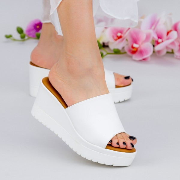 Papuci Dama cu Platforma YL6 White Mei