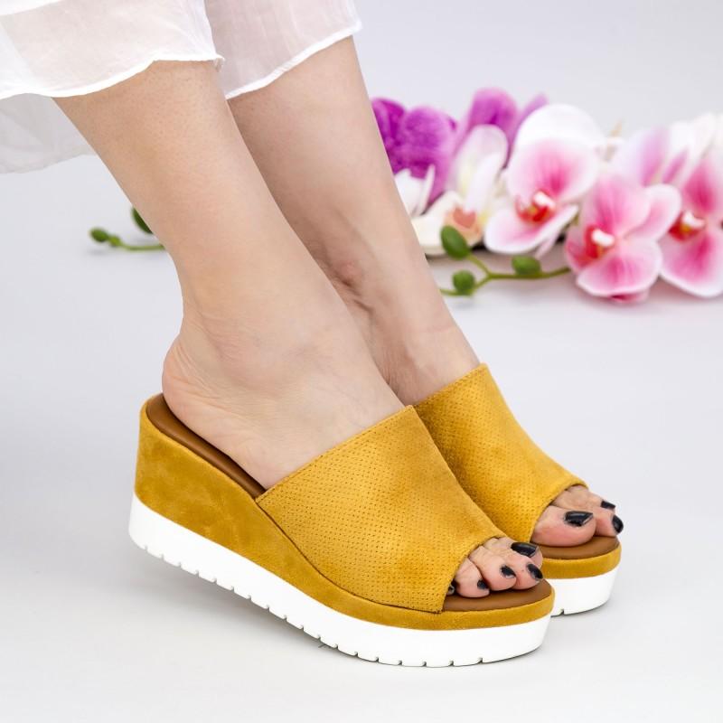 Papuci Dama cu Platforma YL6 Yellow Mei