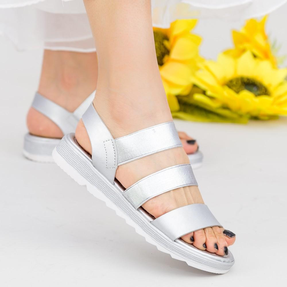 Sandale Dama cu Talpa Joasa WS186 Silver Mei