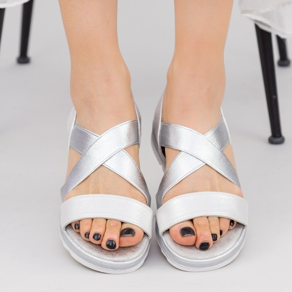 Sandale Dama cu Talpa Joasa WS185 Silver Mei