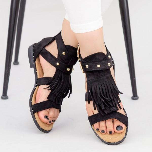 Sandale Dama cu Talpa Joasa LE201 Black Mei