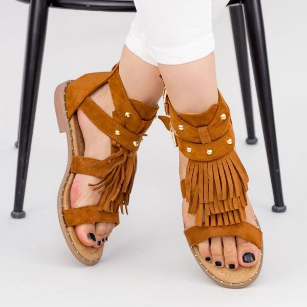 Sandale Dama cu Talpa Joasa LE201 Camel Mei