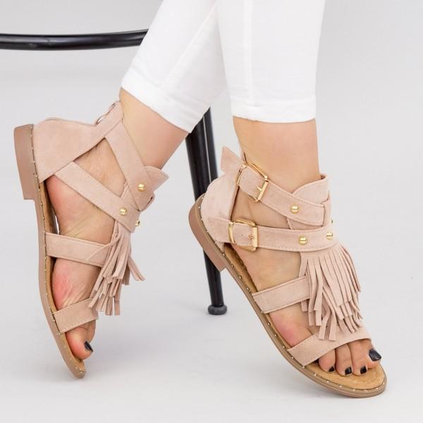 Sandale Dama cu Talpa Joasa LE201 Beige Mei