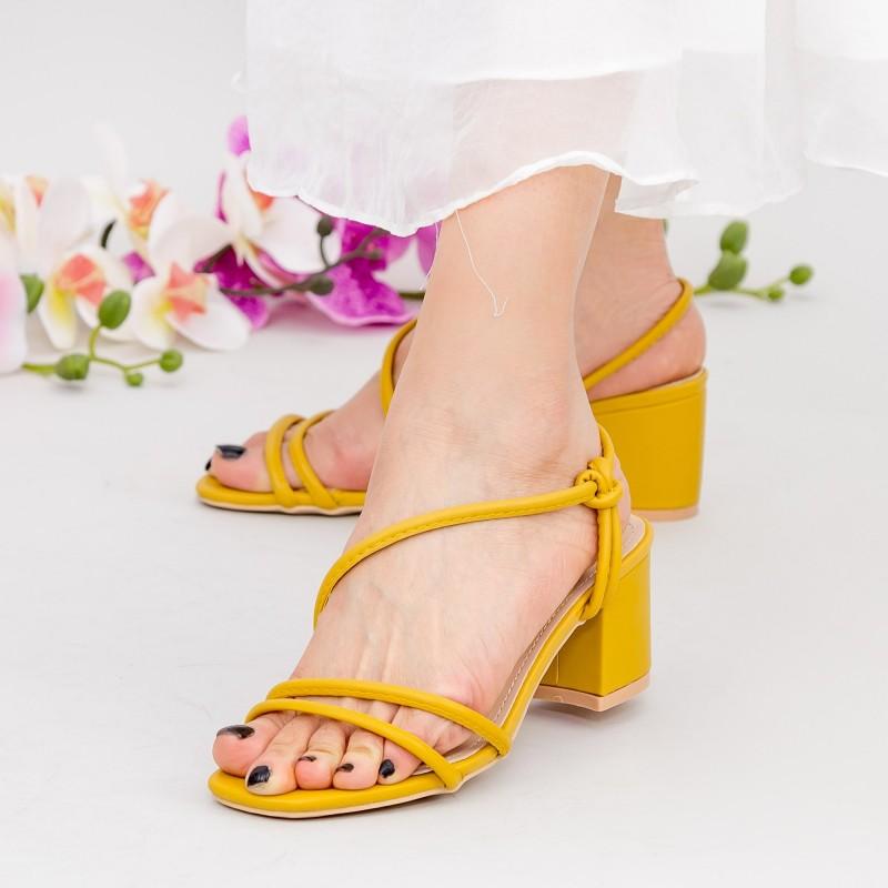 Sandale Dama cu Toc gros YBS77 Yellow Mei