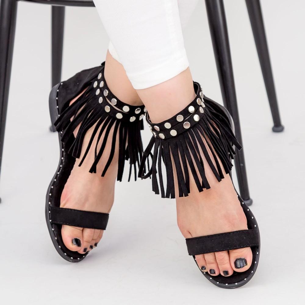 Sandale Dama cu Talpa Joasa LE202 Black Mei