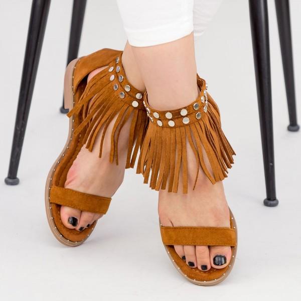 Sandale Dama cu Talpa Joasa LE202 Camel Mei