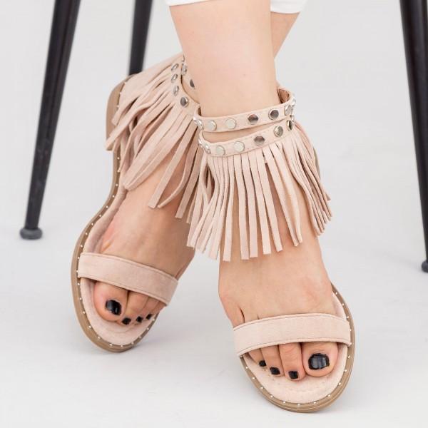 Sandale Dama cu Talpa Joasa LE202 Beige Mei