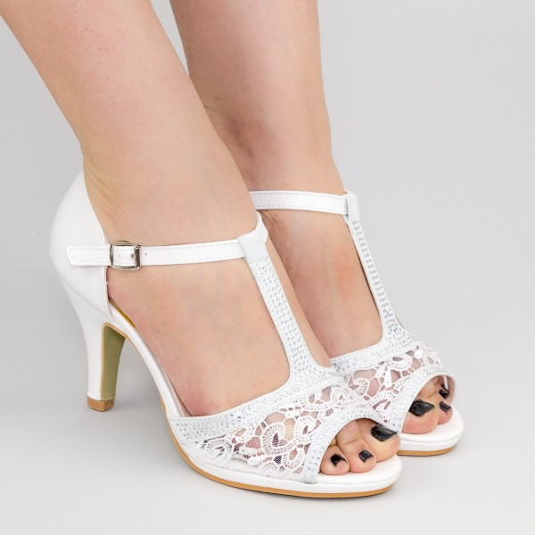 Sandale cu Toc QZL99 White Mei