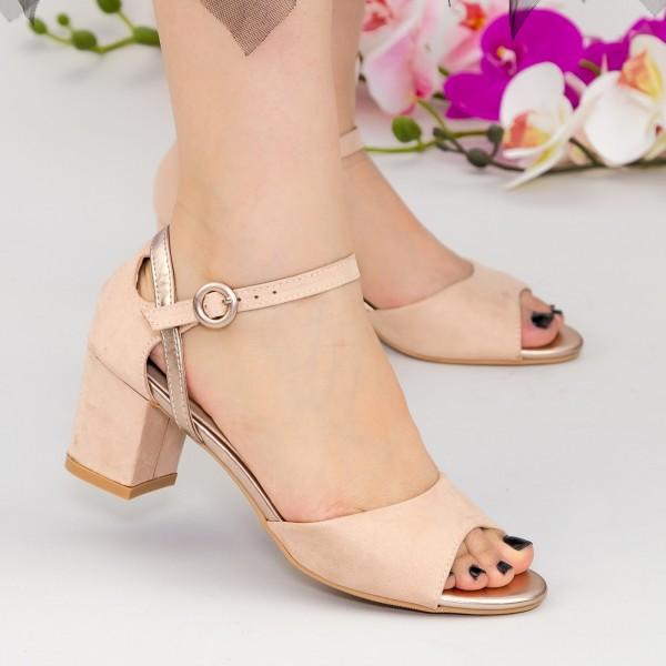 Sandale Dama cu Toc QZL217 Nude Mei