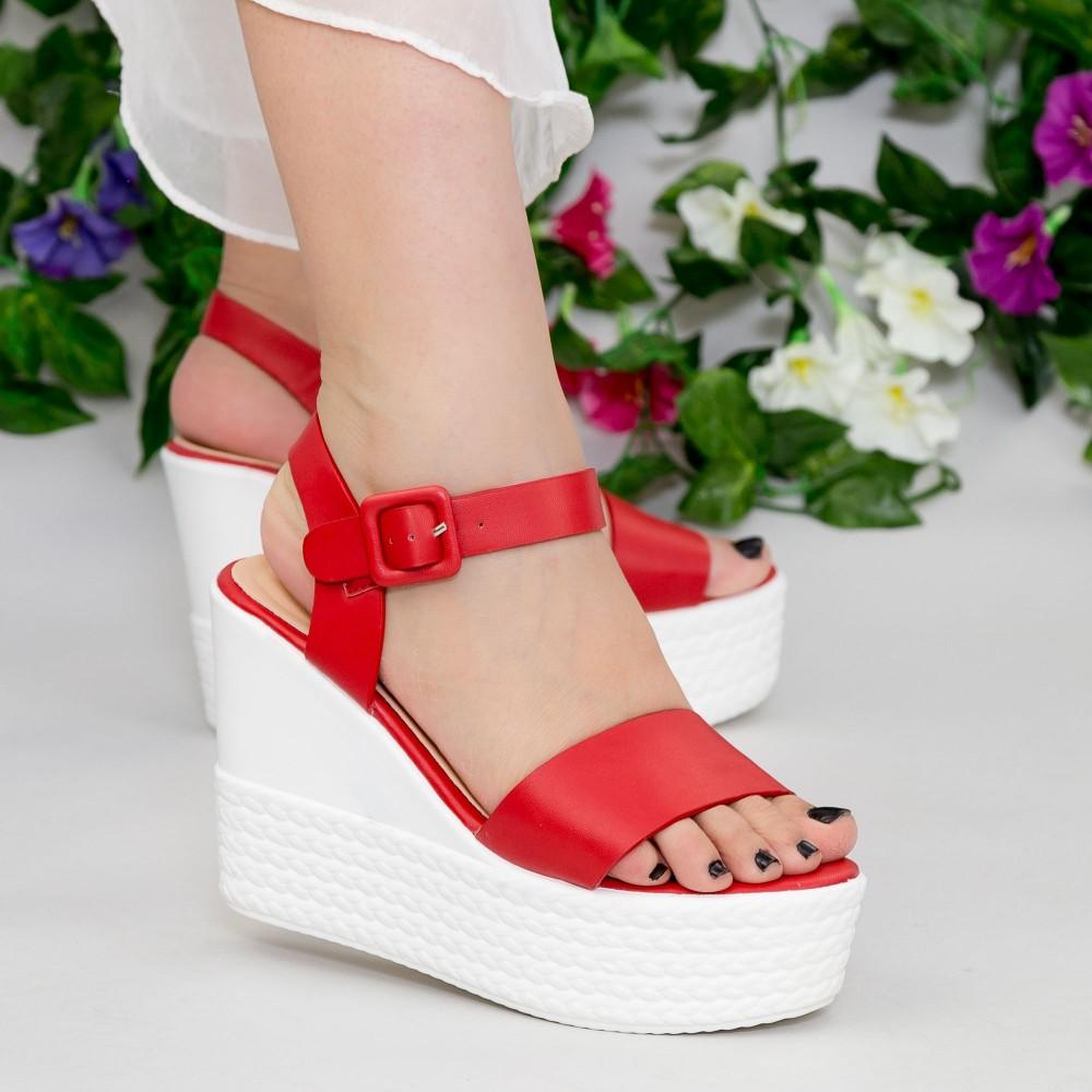 Sandale cu Toc si Platforma LM253 Red Mei