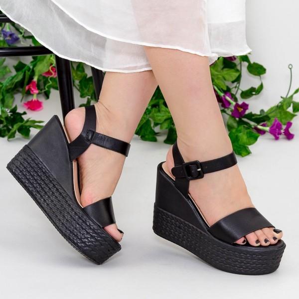 Sandale cu Toc si Platforma LM253 Black Mei