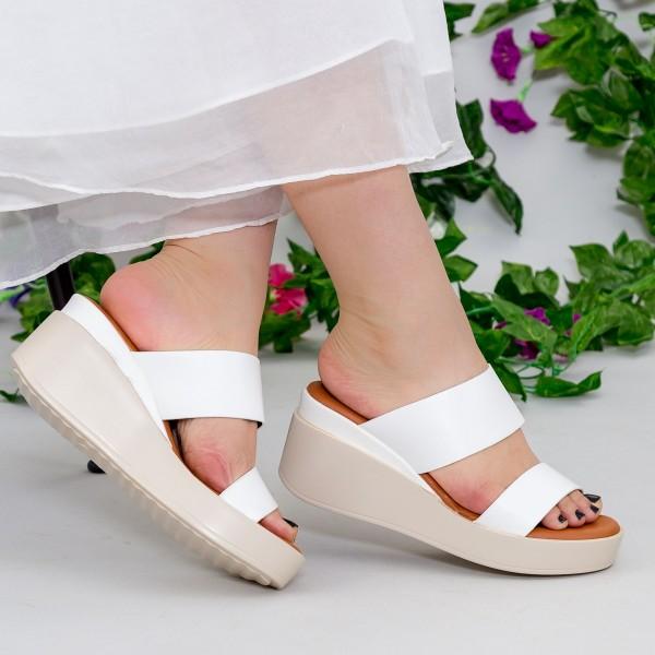 Papuci cu Platforma QZL221 White Mei