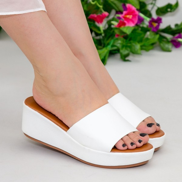 Papuci cu Platforma ZX1 White Mei