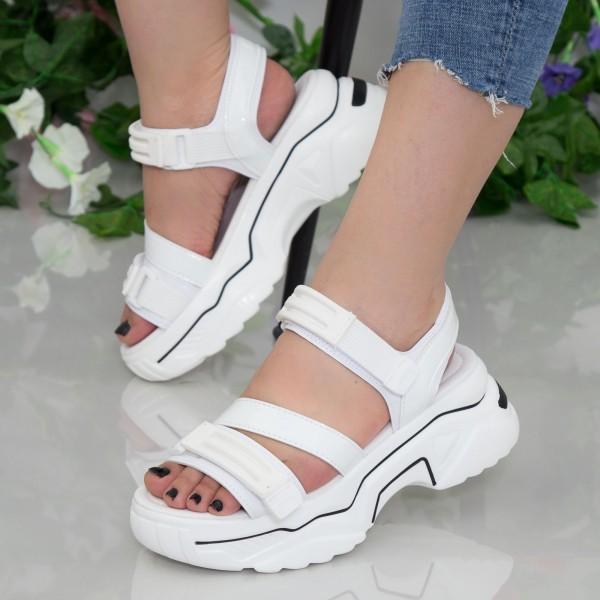 Sandale Dama cu Platforma NX95 White Mei