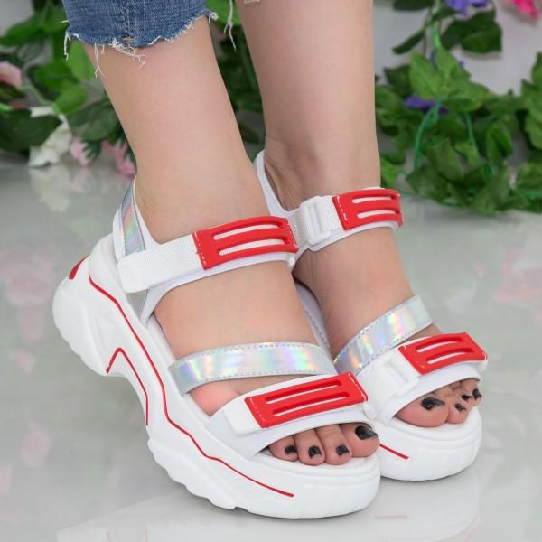 Sandale Dama cu Platforma NX95 White-Red Mei