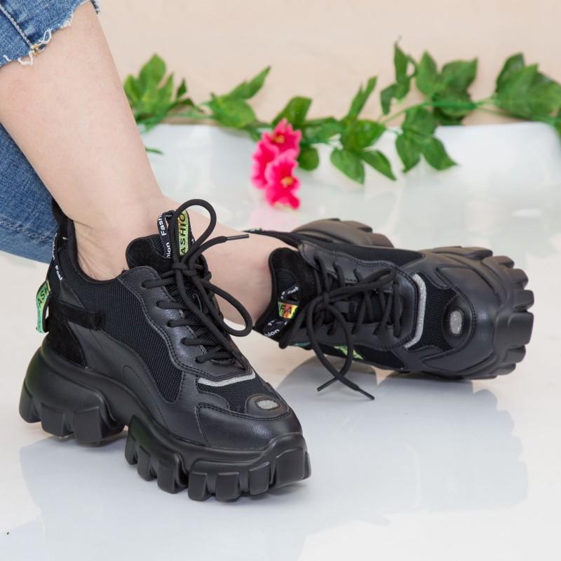 Pantofi Sport Dama cu Platforma SJN331 Black Mei