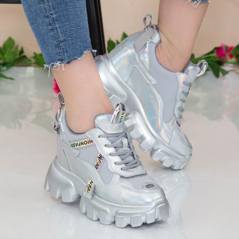 Pantofi Sport Dama cu Platforma SJN331 Silver Mei