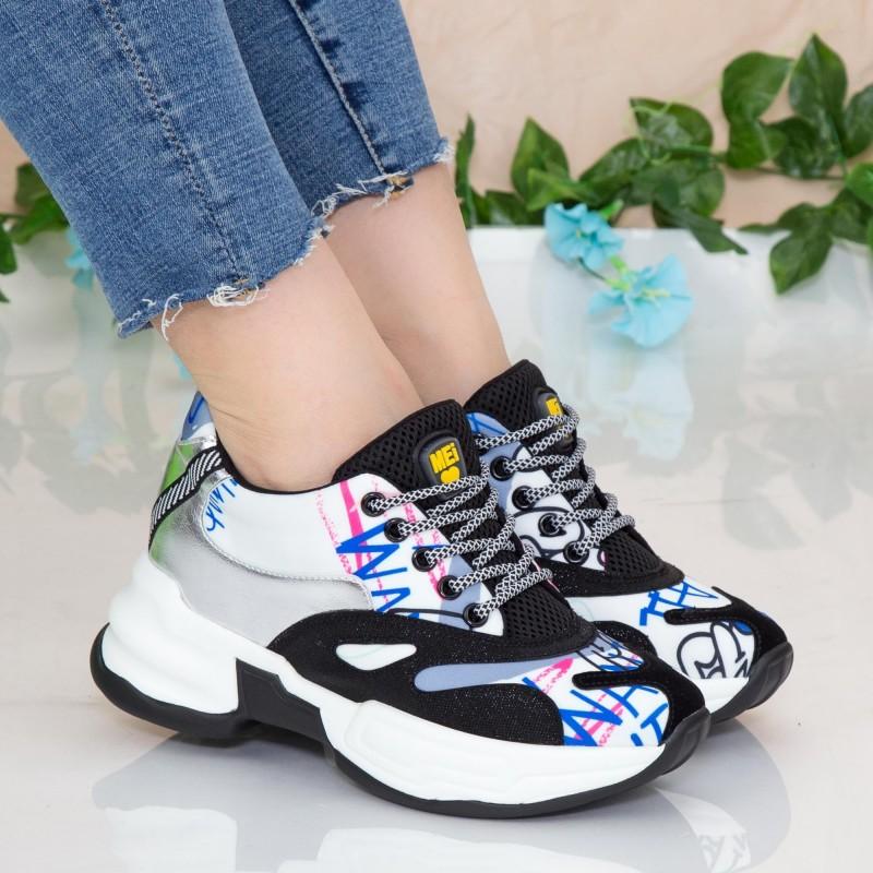 Pantofi Sport Dama cu Platforma SZ230 White Mei