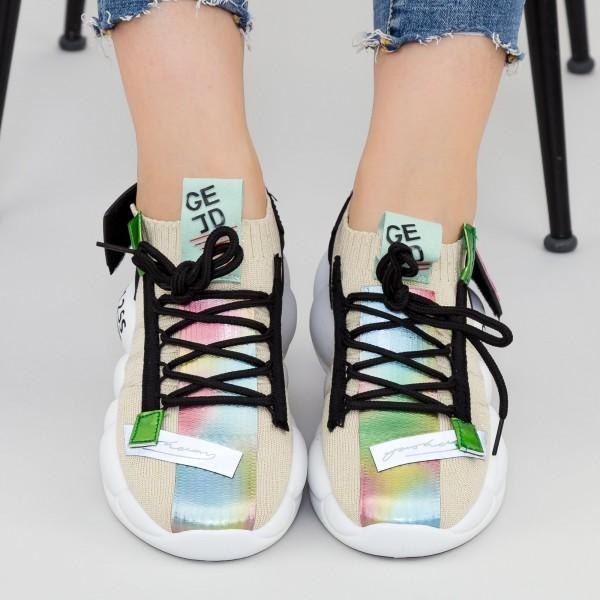Pantofi Sport Dama cu Platforma 9012 Beige Mei